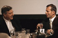 Happier times: Abbott & Pell breaking bread