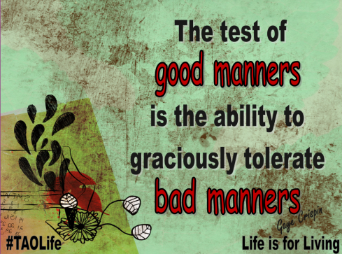 Bad Manners Are Unedifying