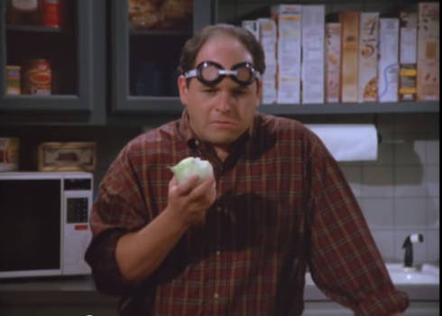 Seinfeld. George eats an onion