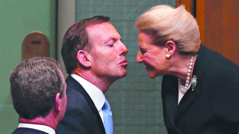 PM Tony Abbott congratulating the New Speaker Bronwyn Bishop after being elected as speaker, in the House of Representatives Chambers at the Opening of the 44th Parliament at  Parliament House in Canberra.