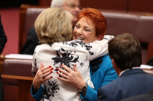 Michaelia Cash, Minister for Women, hugs Senator Pauline Hanson