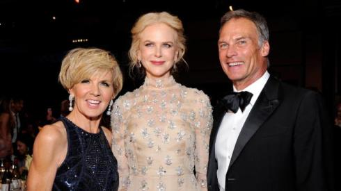 The Foreign Minister at Hollywood party yesterday, with her partner and Nicole Kidman.